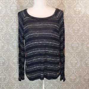 {Mine} Size Small Sheer Navy/White Stripe Sweater